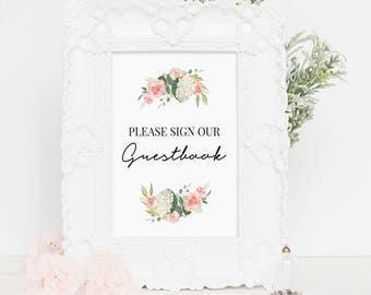 Please Sign Our Guestbook Printable, Floral Wedding Guest Book, Instant Download Guest Book, Wedding Signage Template, Guest Book Sign