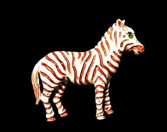 Florenza Zebra Brooch Signed Rare