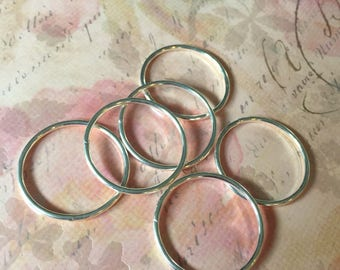 30mm Silver Rings for Seed Bead Hoop Earrings 6 Rings
