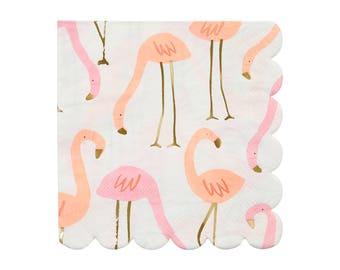 Pink Flamingo Party Napkins (Set of 16) Meri Meri Small Paper Napkins | Baby Shower, Wedding Shower, Birthday Party