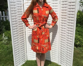 Vintage 60s BARKCLOTH Dress Shirtwaist S