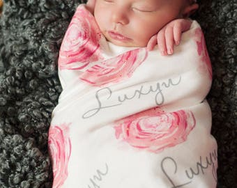 Personalized rose baby name swaddle blanket: baby and toddler personalized name newborn hospital gift baby shower gift