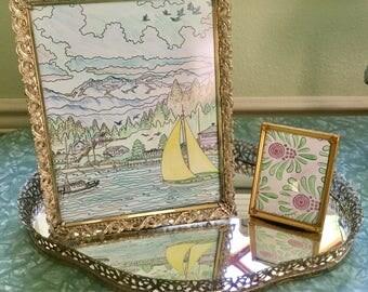 Vintage mid century gold filigree mirrored tray