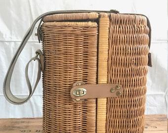 Vintage Wine Lovers Wicker Picnic Basket