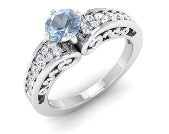 Aquamarine With SI Diamond 14K Gold | Aquamarine Engagement Ring | Vintage Inspired Ring | Round Aquamarine Rose Gold | Certified Aquamarine