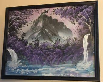 Spray Paint Art Purple Mountains