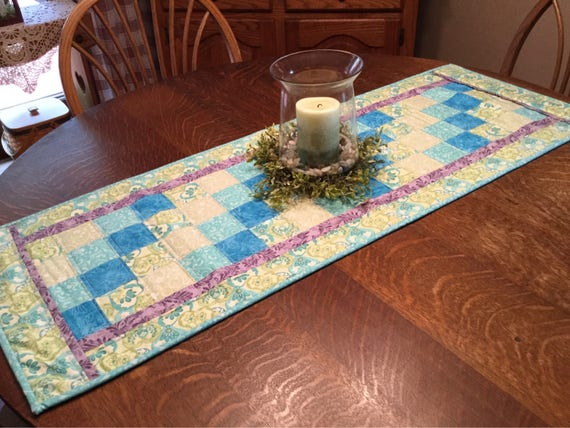 Table runner, quilted table runner, patchwork table runner, pastel table runner, spring table runner, teal table runner, aqua table runner