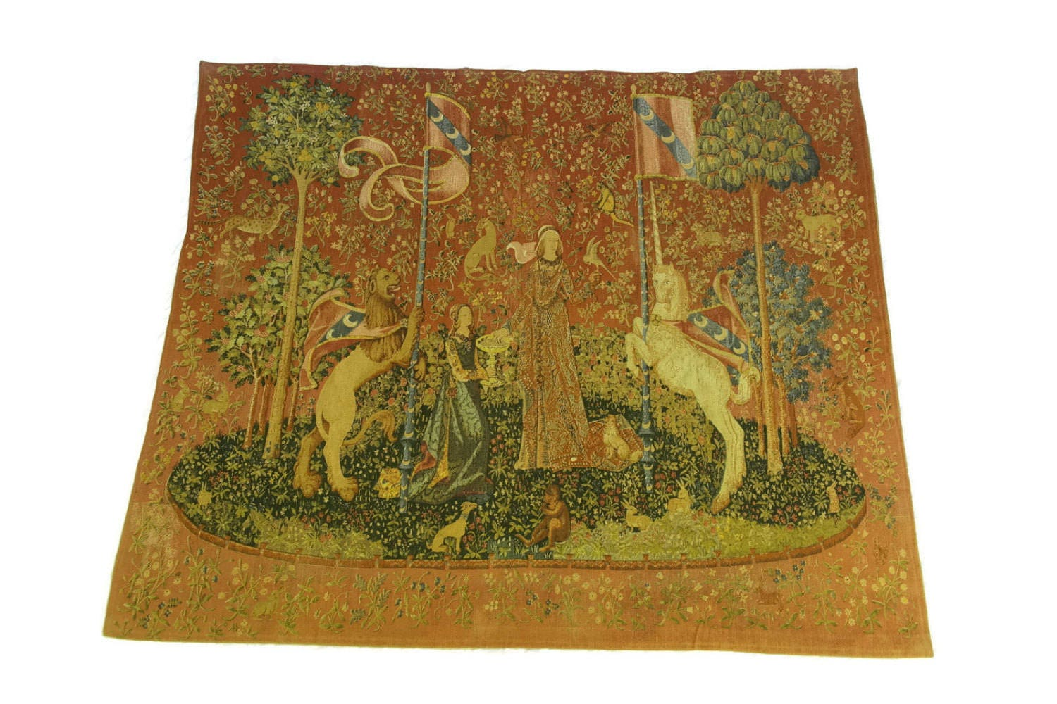 Vintage French Lady and the Unicorn Tapestry. Printed Canvas Wall ...