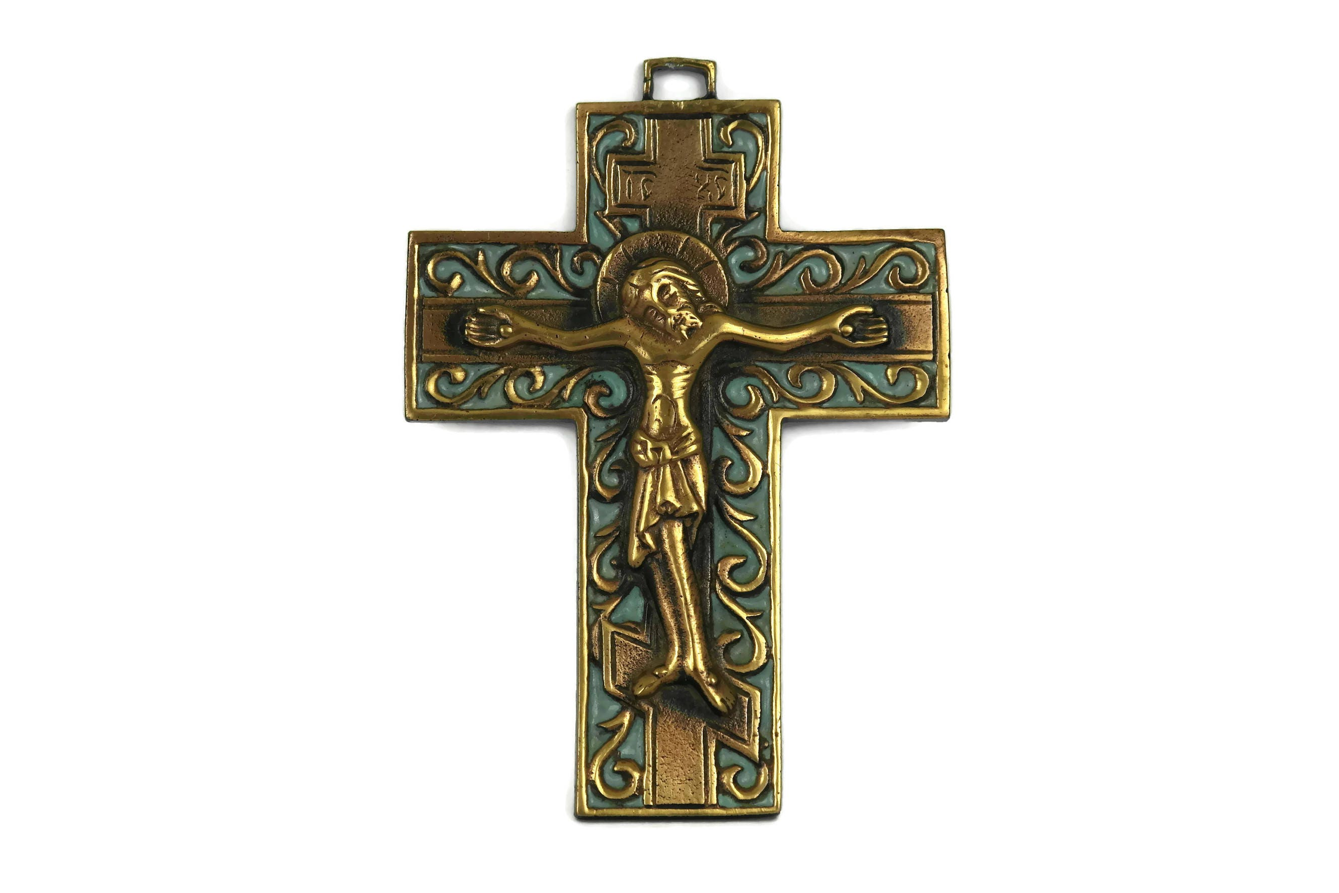 French copper and enamel crucifix mid century hanging cross french copper and enamel crucifix mid century hanging cross pendant enameled religious statement jewelry christian gift aloadofball Choice Image