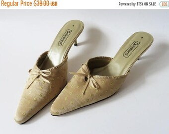 ON SALE Beige Satin Shoes Pointed Toe Clogs Golden Sateen Fabric Mules Summer Slingback Shoes Pumps Heels Women's EUR 37 / Uk 4 / Us 6.5