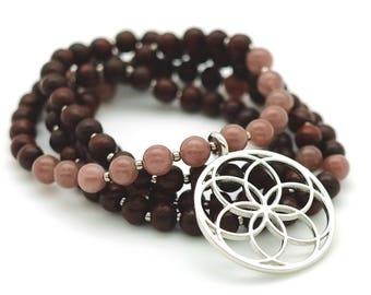 Seed of Life Mala with Rosewood & Purple Aventurine, 108 bead mala, silver pendant