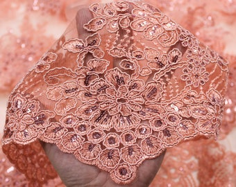 Dark Peach 51'' Adrianna Embroidered Flower with Sequins Scalloped Edge Lace Fabric by the Yard- Style 5003