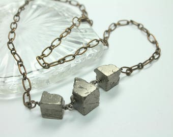 Gold Pyrite Necklace, Raw Stone Necklace, Pyrite Cubes, Unisex Jewelry, Energy and Healing, Boho Layering Necklace