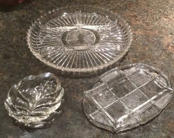 Vintage 3 Glass Serving Dishes