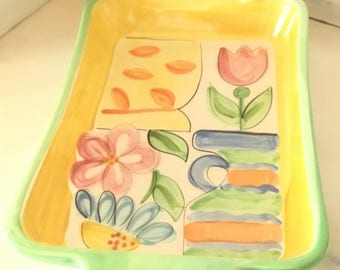Vintage Handpainted Rectangular Dish