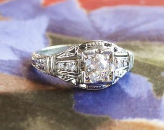 Vintage Art Deco 1930's Old Mine European Cut Diamond Engagement Wedding Anniversary Ring 18k White Gold