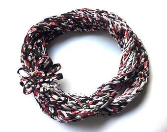 Knit infinity scarf, tee shirt yarn scarf