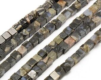 10 x 4mm LABRADORITE cube beads