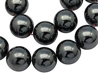 5 x 12 mm (shamballa) Hematite round beads