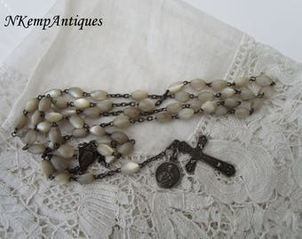 Antique silver rosary 1910 for re-purpose