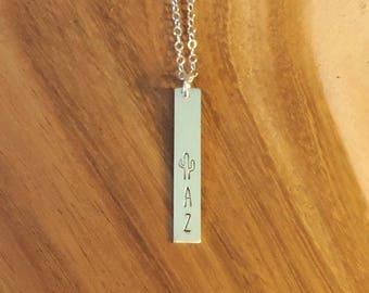 AZ Vertical Bar Necklace, Arizona Cactus Bar Necklace, Sterling Silver Arizona Necklace, Saguaro Silver Bar Necklace, AZ Love