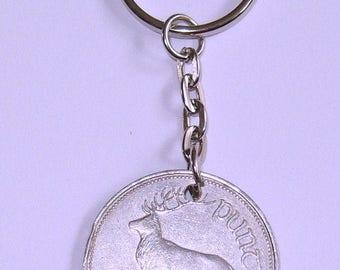 1999 Irish Punt Coin Keyring Key Chain Fob 18th Birthday Red Deer