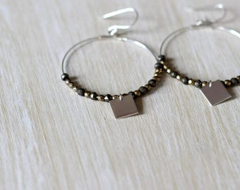Hematite 925 sterling silver hoop earrings