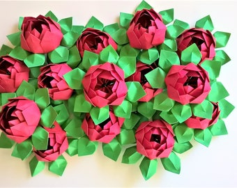 25 Origami Paper Lotus Blossoms - Wedding Decoration - Table Decor