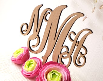 Monogram wedding cake topper, personalized cake topper, wedding cake topper, rustic cake topper, cake topper, wooden cake topper