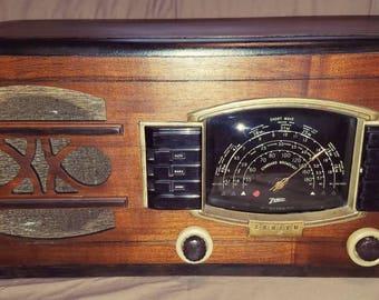 1940s Zenith Vacuum Tube Radio 6G 638 Works Shortwave Vintage