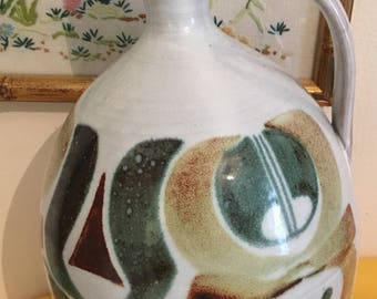 Aldermaston Studio Pottery Large earthenware Flagon Signed Julian Bellmont // engraved mark (J)