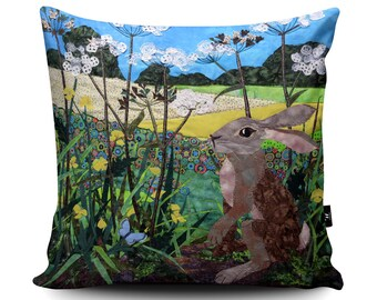 Hare Cushion, Hare Pillow, Rabbit Cushion, Buttercup Spring Pillow, Field British Countryside Pillow, Home Decor, Faux Suede Cushion by Kate