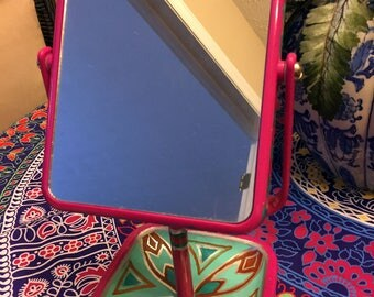 """Hand Painted Bohemian Hot Pink Two Sides Make Up  Mirror  12""""Hx5""""Wx5""""D M0040"""