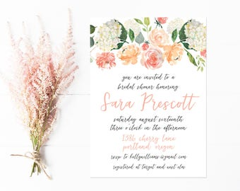 Bridal Shower Invitation, Peach Watercolor Painted Floral Invitations for Bridal Shower