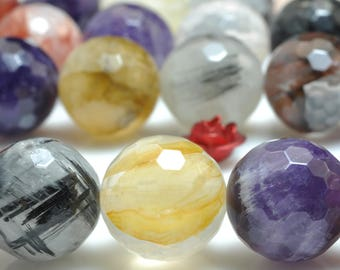 32 pcs of Natural Mixed Quartz faceted round beads in 12mm