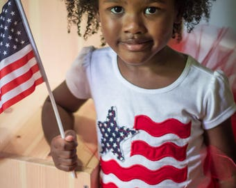 Girls 4th of July Shirt -American Flag Shirt -Red White and Blue Shirt -America Shirt -Fourth of July Tee-4th ofJuly Baby Outfit-Embroidered
