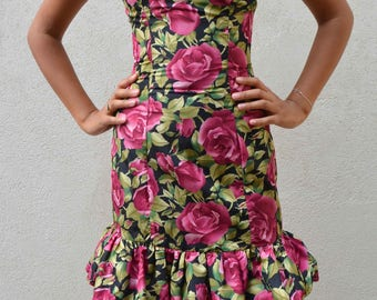 80's dress - strapless prom dress - pink floral mini with black tulle - cute dress - teenager - xxs US 2 or AU 6