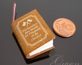 French vintage tiny Miniature Leather Book Universal Declaration of Human Rights for Doll or dollhouse Library