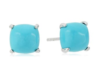 Sterling Silver Natural Turquoise Cushion Stud Earrings