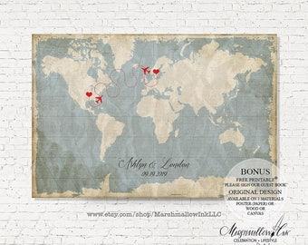 Wedding Map Wedding Sign, Wedding Guest Book Map, Guest Book Sign Destination Wedding Guestbook Alternative, Wedding Gift Bridal Shower Gift