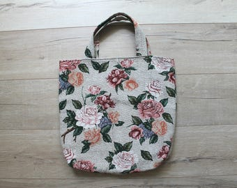 Vintage 80s large floral tapestry tote bag, perfect for books and travel