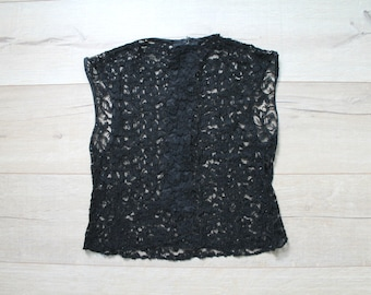 ONE SHOT SALE! Vintage 60s black lace crop blouse, small