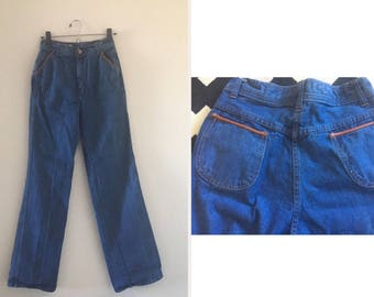vintage 70's WIDE LEGGED denim & leather blue JEANS - small