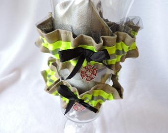 Firefighter wedding garter set,one with Lace toss garter without lace,optional embroidered name added to garter,TAN bunker gear look