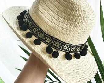 Pom Pom Summer Hat, Pom Pom Sun Hat, Pom Pom Fedora, Summer Pom Pom Hat, Beach Hat, Boho Summer Hat
