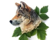 Wolf . brooch . embroidery