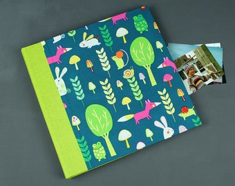 Green colored children photo album, baby photo albums, customizable, substance-related photo album, baptism gift, photo album Fox green blue