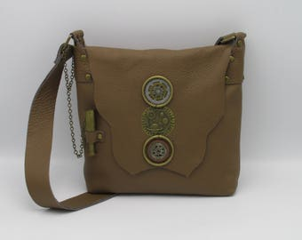 Steampunk Tan Leather Shoulder Bag -- The  Space Explorer