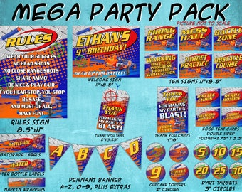 Dart Gun Birthday Party Mega Decoration Pack | Food Tent Cards, Signs, Thank You Tags, Banner, Targets, Cupcake Toppers, Water Bottle Label