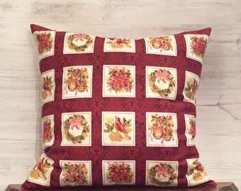 Christmas Pillow Cover - Poinsettia Pillow - Red Christmas Pillow - Cardinal Pillow - Holiday Pillow - Seasonal Pillow - Throw Pillow